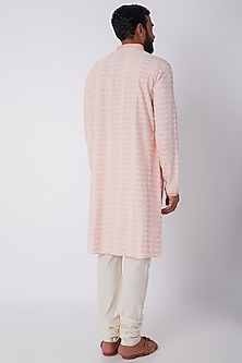 Blush Pink Printed & Embroidered Kurta Set by Bubber Couture