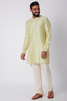Yellow Printed Kurta Set by Bubber Couture