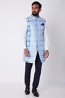 Sky Blue Tie-Dye Sherwani by Bubber Couture