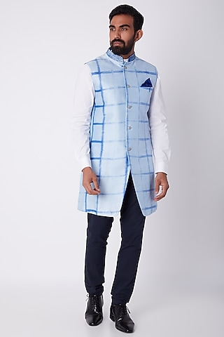 Sky Blue Tie-Dye Sherwani by Bubber Couture