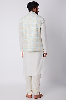 Off White Printed Bundi Jacket by Bubber Couture