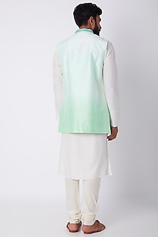 Mint Green Embroidered Ombre Bundi Jacket by Bubber Couture