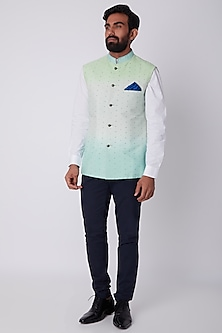 Mint Blue Ombre Reversible Bundi Jacket by Bubber Couture