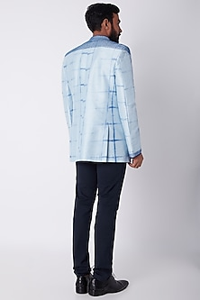Sky Blue Embroidered & Tie-Dye Bandhgala Jacket by Bubber Couture