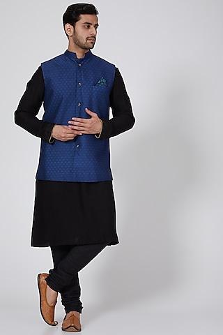 Blue Jacquard Bundi Jacket by Bubber Couture