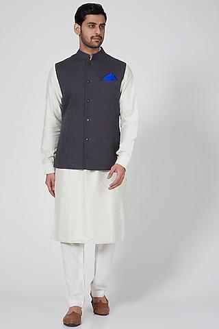 Grey Printed Bundi Jacket by Bubber Couture