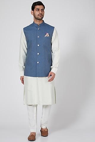 Blue Criss-Cross Bundi Jacket by Bubber Couture