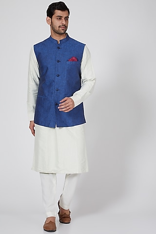 Blue Linen Bundi Jacket by Bubber Couture