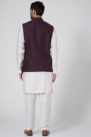 Wine Linen Bundi Jacket by Bubber Couture