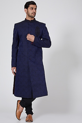 Black & Blue Embroidered Sherwani by Bubber Couture