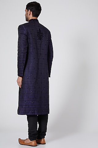 Navy Blue Brocade Silk Sherwani by Bubber Couture