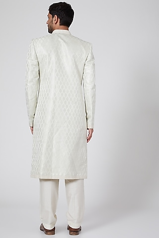 Off White Sherwani With Thread Work by Bubber Couture