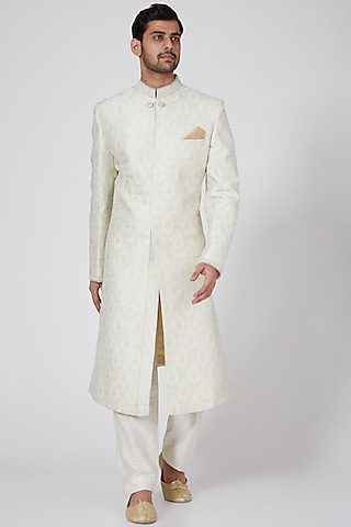 Off White & Silver Sherwani With Zardosi Work by Bubber Couture