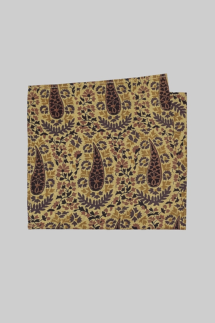 Beige & Black Printed Pocket Square by Bubber Couture