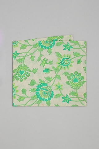 Beige & Green Floral Printed Pocket Square by Bubber Couture