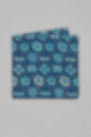 Blue & Teal Floral Printed Pocket Square by Bubber Couture
