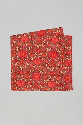 Red & Maroon Floral Printed Pocket Square by Bubber Couture