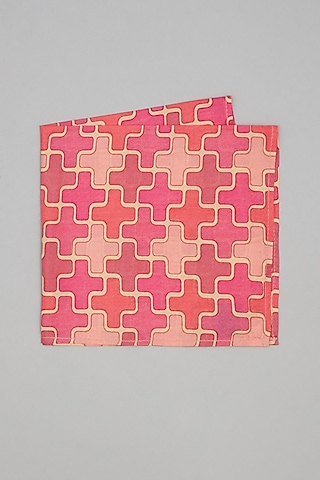 Pink Printed Pocket Square by Bubber Couture