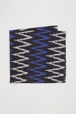 Black & Blue Chevron Printed Pocket Square by Bubber Couture