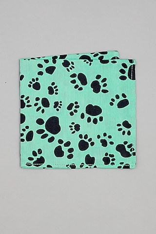 Aqua Blue Paw Printed Pocket Square by Bubber Couture