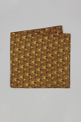Mustard & Yellow Printed Pocket Square by Bubber Couture