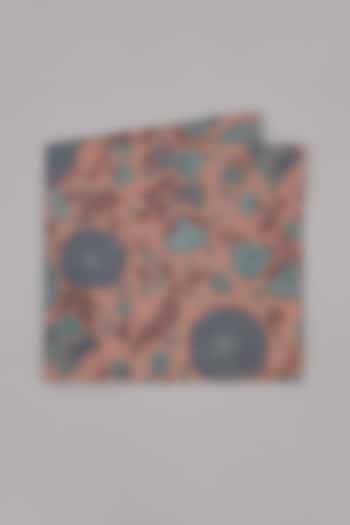 Salmon Pink & Turquoise Printed Pocket Square by Bubber Couture