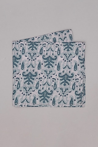 Grey Printed Pocket Square by Bubber Couture