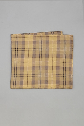 Beige & Brown Printed Pocket Square by Bubber Couture