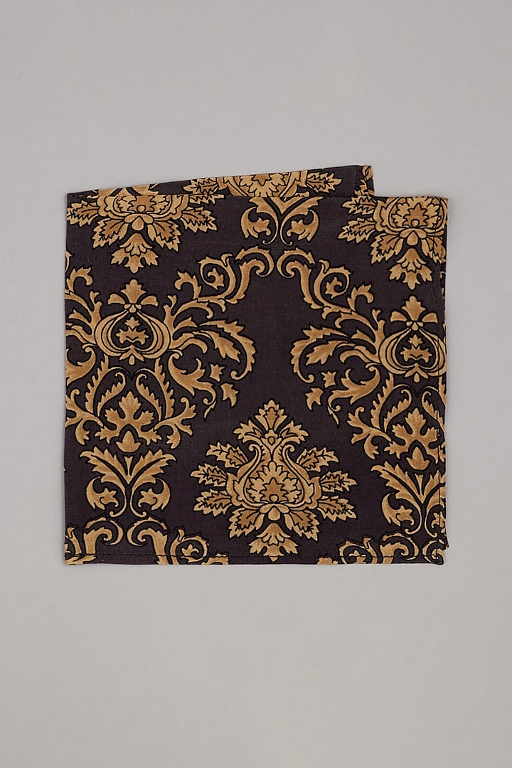 Black & Gold Printed Pocket Square by Bubber Couture