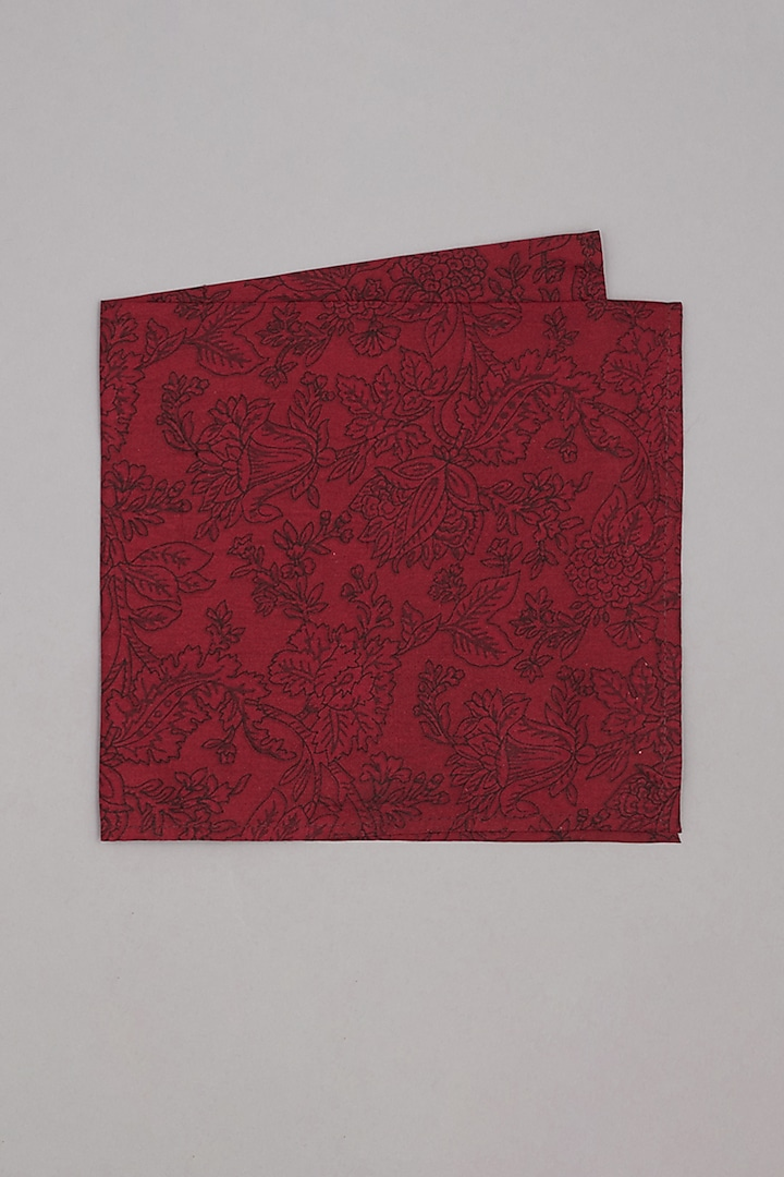 Maroon & Red Printed Pocket Square by Bubber Couture