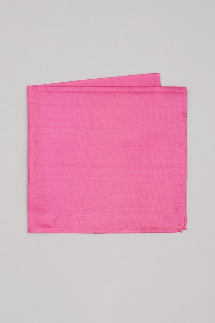 Pink Pure Silk Pocket Square by Bubber Couture