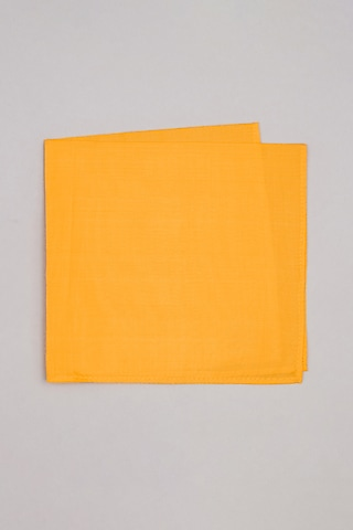 Yellow Pure Silk Pocket Square by Bubber Couture