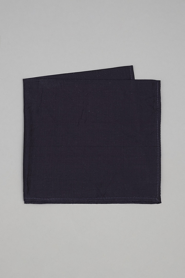 Navy Blue Pure Silk Pocket Square by Bubber Couture