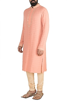 Salmon Pink & Beige Floral Embroidered Kurta Set by Bubber Couture