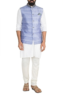 Blue Printed Bundi Jacket by Bubber Couture