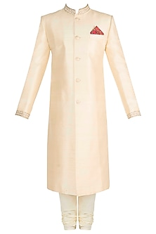 Light Beige Embroidered Sherwani by Bubber Couture