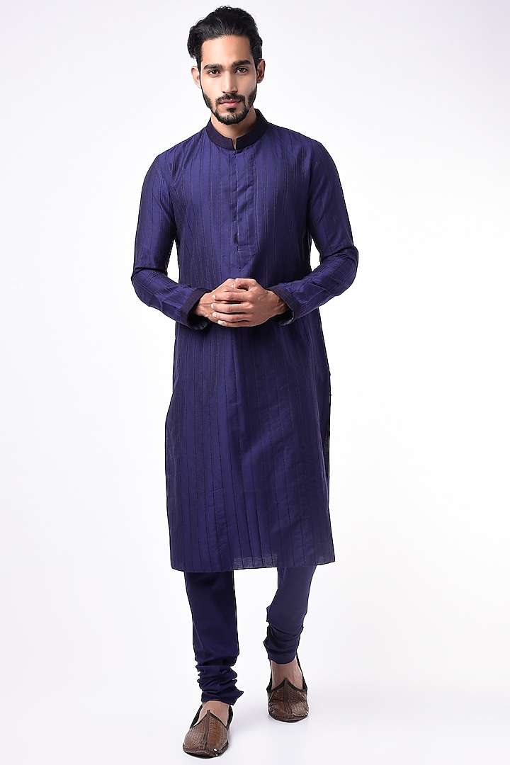 Navy Blue Striped Kurta Set by Bubber Couture