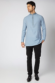 Sky Blue Embroidered Shirt Kurta by Bubber Couture