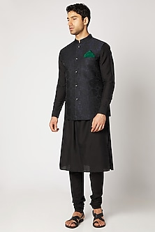Blue & Black Embossed Bundi Jacket by Bubber Couture