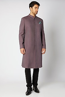 Mauve & Blue Pintucked Sherwani by Bubber Couture