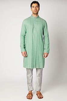 Green Striped Kurta With Grey Pants by Bubber Couture