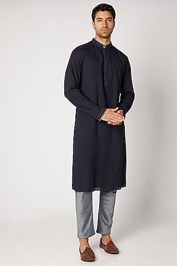 Navy Blue Blue Dobby Silk Kurta Set by Bubber Couture
