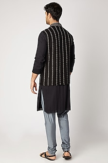 Black Striped Embroidered Bundi Jacket by Bubber Couture