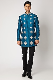 Peacock Blue Embroidered Achkan Jacket by Bubber Couture