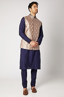 Nude & Gold Embroidered Bundi Jacket by Bubber Couture