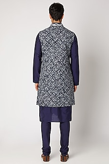 Cobalt Blue Ombre Embroidered Sherwani by Bubber Couture