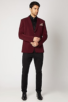 Maroon Crepe Wool Blazer by Bubber Couture