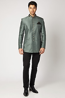 Grey Embroidered & Printed Bandhgala Jacket by Bubber Couture