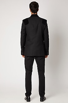 Black Corduroy Wool Blazer by Bubber Couture