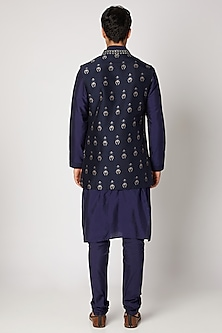 Navy Blue Embroidered Bundi Jacket by Bubber Couture